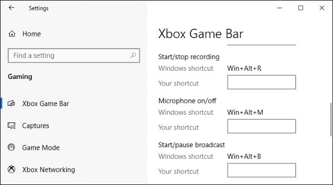 مسیر Settings > Gaming > Xbox Game Bar در ویندوز 10