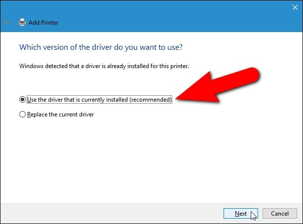 انتخاب گزینه Use the driver that is currently installed